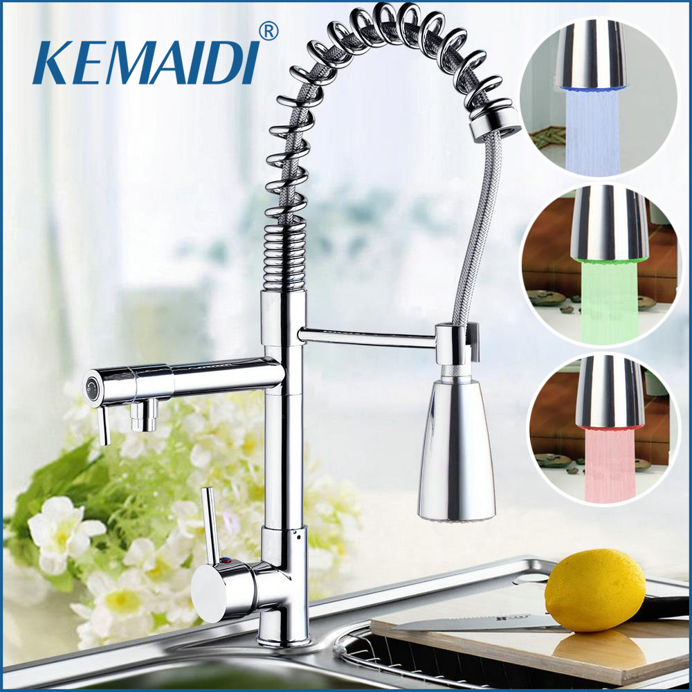 KEMAIDI New Arrival LED Pull Down Swivel Brass Chrome Spray Sink Kitchen Faucet Basin Faucet Torneira Cozinha Faucets Mixer Tap xoxo kitchen faucet brass brushed nickel high arch kitchen sink faucet pull out rotation spray mixer tap torneira cozinha 83014