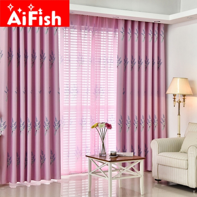 pastoral style new shade cloth blue pink and green lavender printing curtains for the bedroom hotel