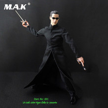 Modelo de Escala 1 6 O NEO Matrix Keanu Reeves Ternos Roupas Casaco Preto  Para dfc2f34dea