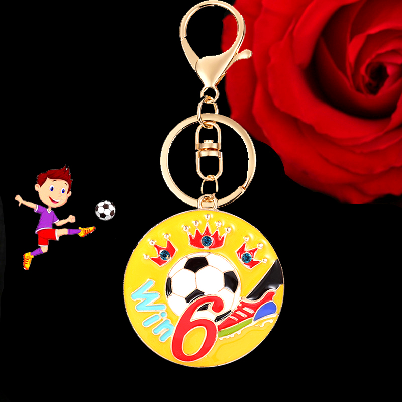 Win.6 Football Keychain Enamel Gold Alloy Key Chain Holder Bag Car Pendant for Fan Soccer Supporting favorite players EC
