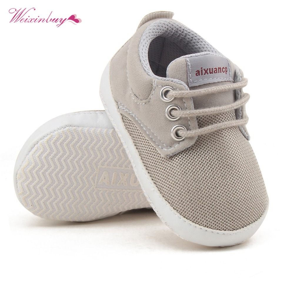 Baby Shoes Kids First Walkers Breathable Mesh Non-slip Rubber Sole Lace-up Shoe Spring Autumn Baby Boy Soft Shoes 3 Color 0-18M