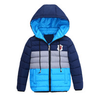 2016 New Boys Blue Winter Coats Jacket Kids Zipper Jackets Boys Thick Winter Jacket High Quality
