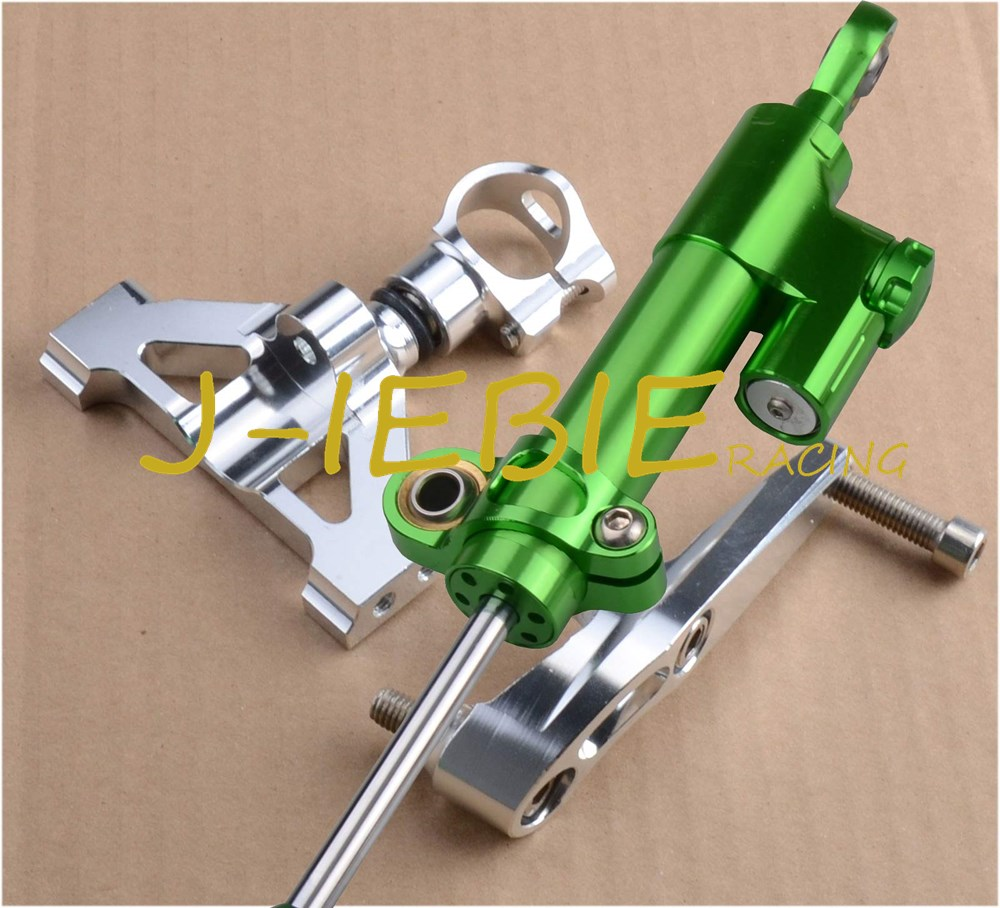CNC Steering Damper Stabilizer and Silver Bracket Mounting For KAWASAKI Ninja ZZR1400 ZX14R 2006-2012 2007 2009 2011 2010 2008 for kawasaki ex250r ninja 2008 2012 ninja250r 2008 2014 ninja 300 2013 2016 navigation bracket with usb charge port