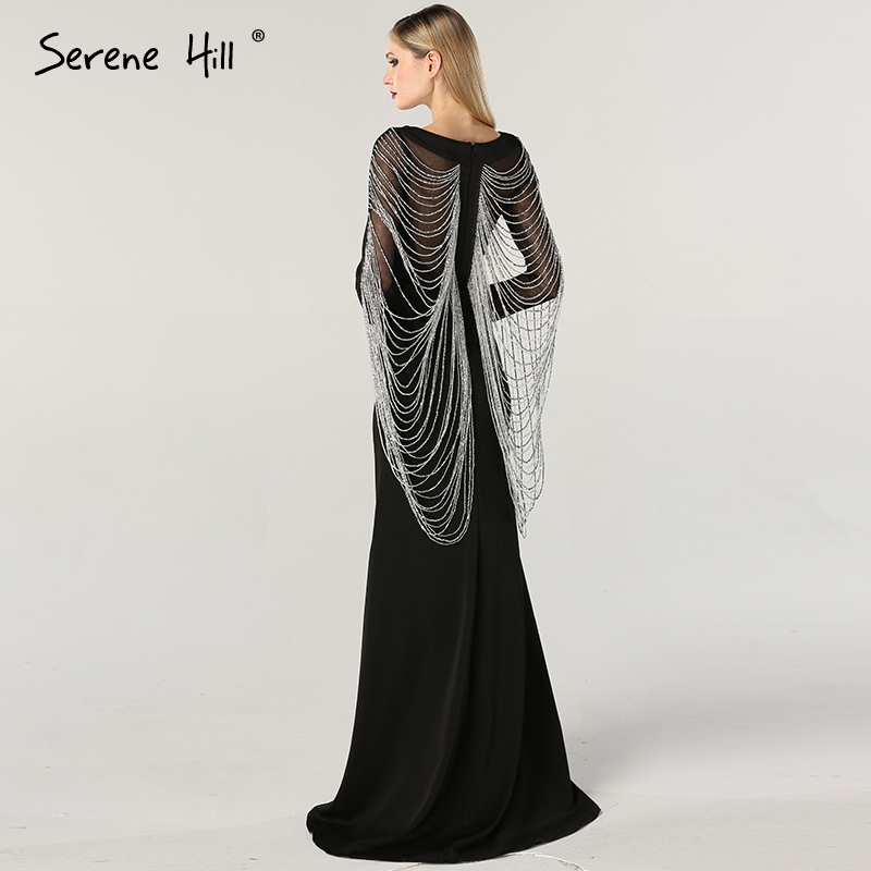 Dubai Black Beading Crystal Evening Dresses Long Sleeves Latest Design  Dresses Evening Gown 2019 SERENE HILL LA60824