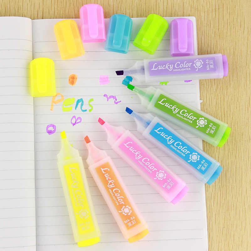 6PCS חמוד סוכריות צבעים סימון עטים Kawaii מכתבים חומר Escolar Papelaria כתיבה ציוד לבית ספר