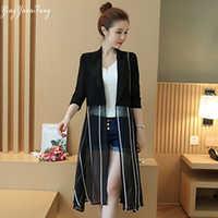 YingYuanFang Mode frauen neue lange abschnitt sonnencreme chiffon-dünne strickjacke jacke