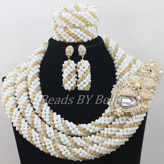 Luxury Nigerian Beaded Necklaces Sets African Wedding Jewelry Set Fashion Crystal Beads Bridal Jewelry Sets Free Shipping ABF681Luxury Nigerian Beaded Necklaces Sets African Wedding Jewelry Set Fashion Crystal Beads Bridal Jewelry Sets Free Shipping ABF681