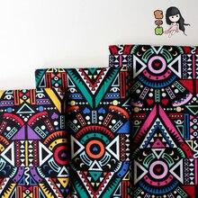 ZENGIA 145cm x 100cm tela estampada de algodón indio africano diseño tipo patchwork étnico para mantel cojín costura decoración del hogar tela