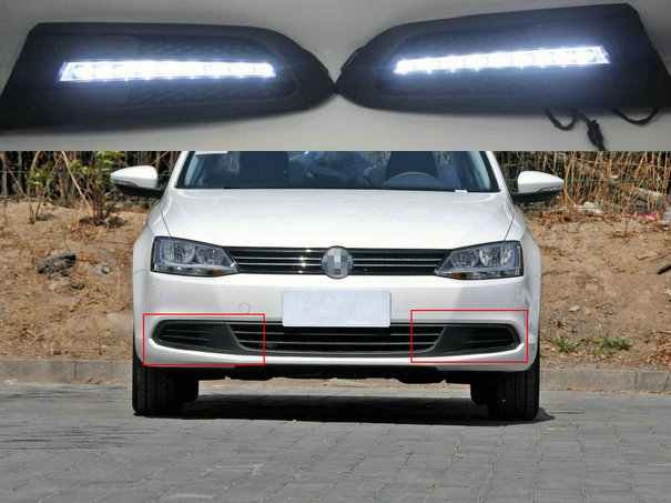 LED DRL Daytime Running Lights Fog Head Lamp Cover White Daylight For Volkswagen VW Jetta Sagitar 2012 2013 2014 Upgrade Parts for volkswagen vw new sagitar 2012 2013 2014 jetta 6 rear trunk switch cover decoration cover sticker stainless steel 1pc