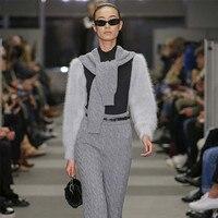 European and American niche designer 2019 spring knit skirt sweater two piece skirt fashion temperament suit