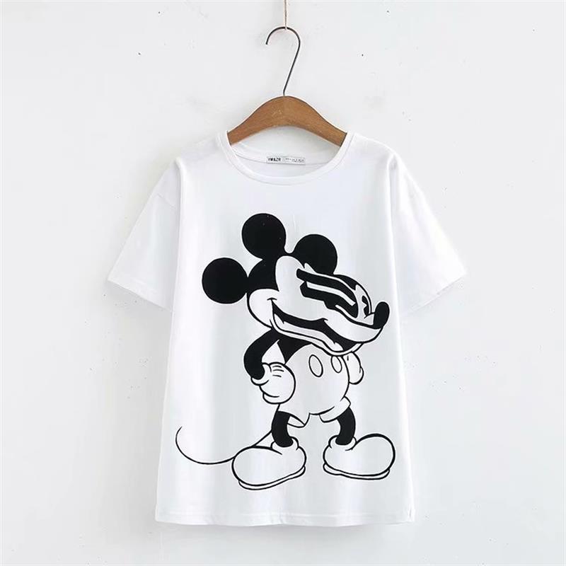 2019 Women T Shirt Fashion Cartoon mouse Print White Tee Summer O neck Short sleeve Casual Loose Shirt Female Tops C693
