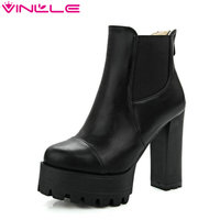 Size 34 43 Fashion Zipper 2016 Round Toe PU Leather Women Shoes Square High Heel Ankle
