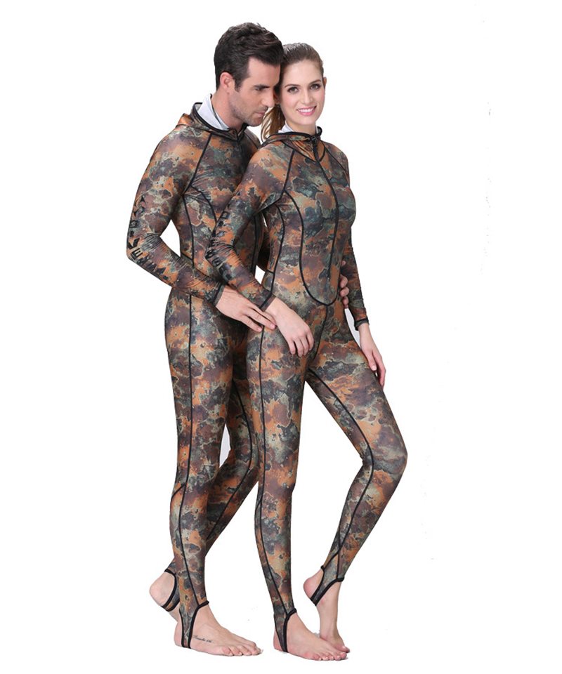 2016 UPF50 Camouflage Snorkeling Dive Diving Skin Rash Guards One piece With Hood Jump Stinger Suit