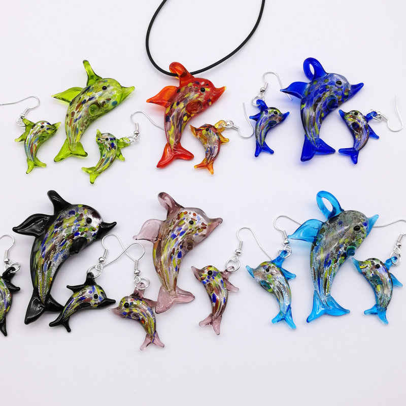1 Set Dolphin Lampwork Kaca Murano Bead Necklace Earring FASHION ada enam warna opsional