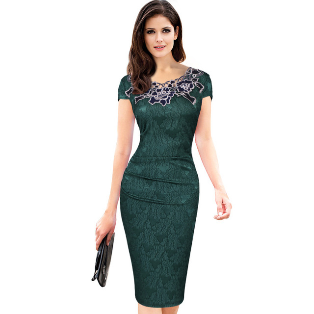 Euro-US style, 2019 new spring summer Women's clothing,Pencil dress,Lace ,Sexy,Round neck, 5