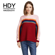 HDY Haoduoyi 2018 Autumn Colorful Striped Contrast Knit Split Pullover Christmas Rainbow Sweater Winter Clothes Women