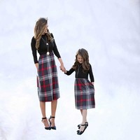 Mom and Daughter Dress Baby Clothes Mother Daughter Dresses Mother Kids Matches Plaid Outfit Long Sleeve Matching Family Outfits