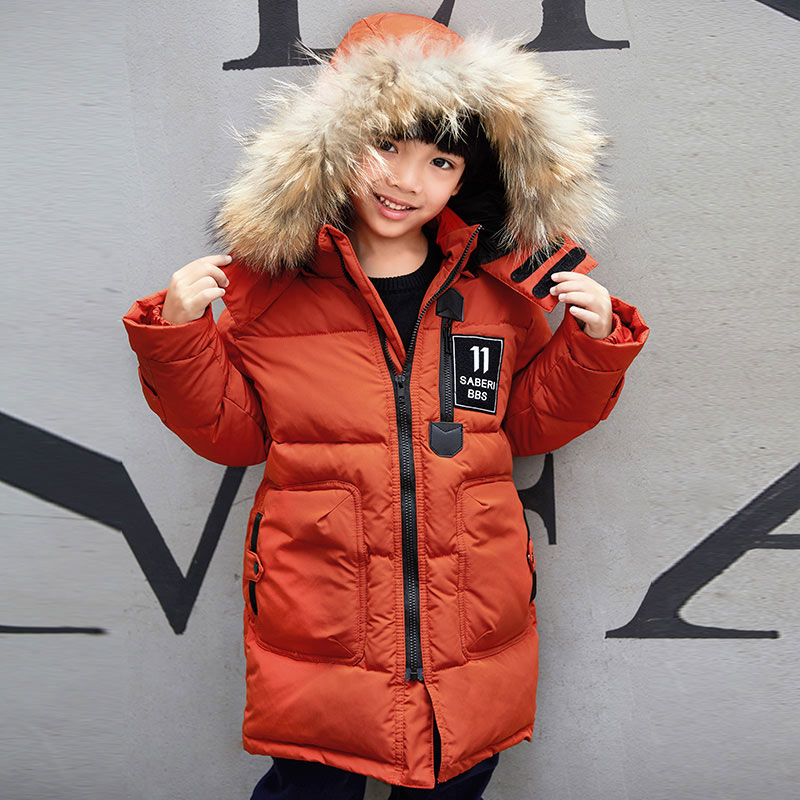 Pioneer Camp Kids Winter boys parkas Cotton Outerwear Coats fur collar hooded long jackets coat for boys warm children clothes