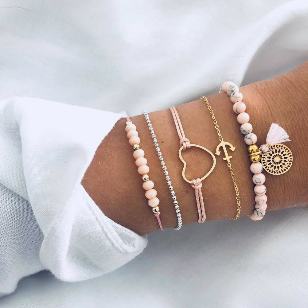 Honest 5pcs/set Handmade Woven Bead Chain Love Anchor Tassel Bracelet Weave Pink Rope Braclet For Women Accessories Gifts Rich And Magnificent Bracelets & Bangles