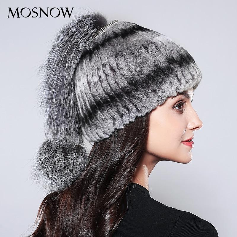 MOSNOW Natural Rex Rabbit Fur Beanies Luxury Silver Fox Fur Tail Ball 2017 Winter Wool Knitted New  Women's Hat Bonnet #PCM721