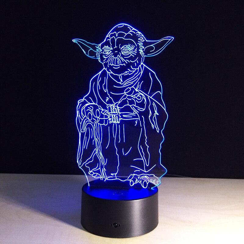 Star Wars Action Figure Master Yoda 3D Led Table Night Light Colorful Acrylic USB LED Lighting Lamp Creative Action Figure