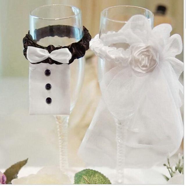 2pcs New wedding supplies bride and groom Tux Bridal Veil wine glass cover  Decoration Champagne Glasses c6d6d5c47dab