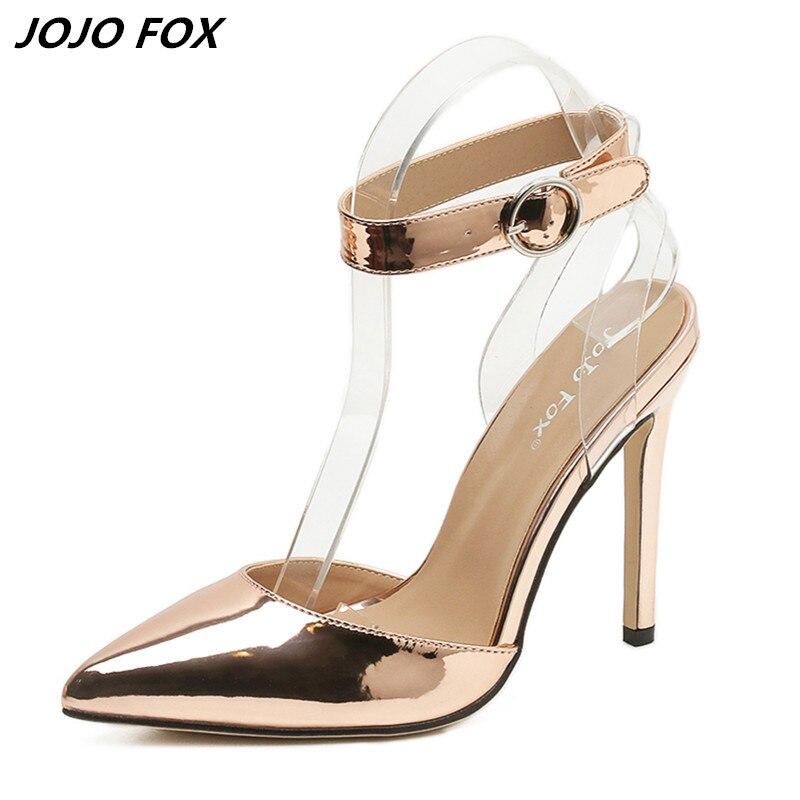 d32278866d701 Marque chaussures femmes sandales bout pointu cheville boucle Escarpins  haute talon femmes pompes dames or sexy sandales talon mince taille 40