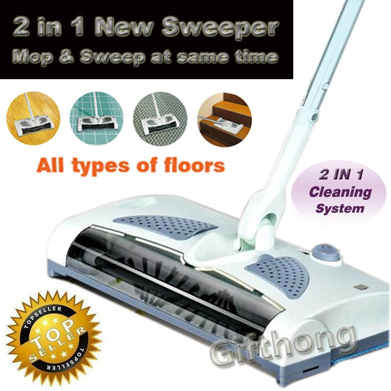 2 In 1 Cordless Electric Sweeper And Mop Rechargeable Battery Rotary Rod  360 Degree For Carpet