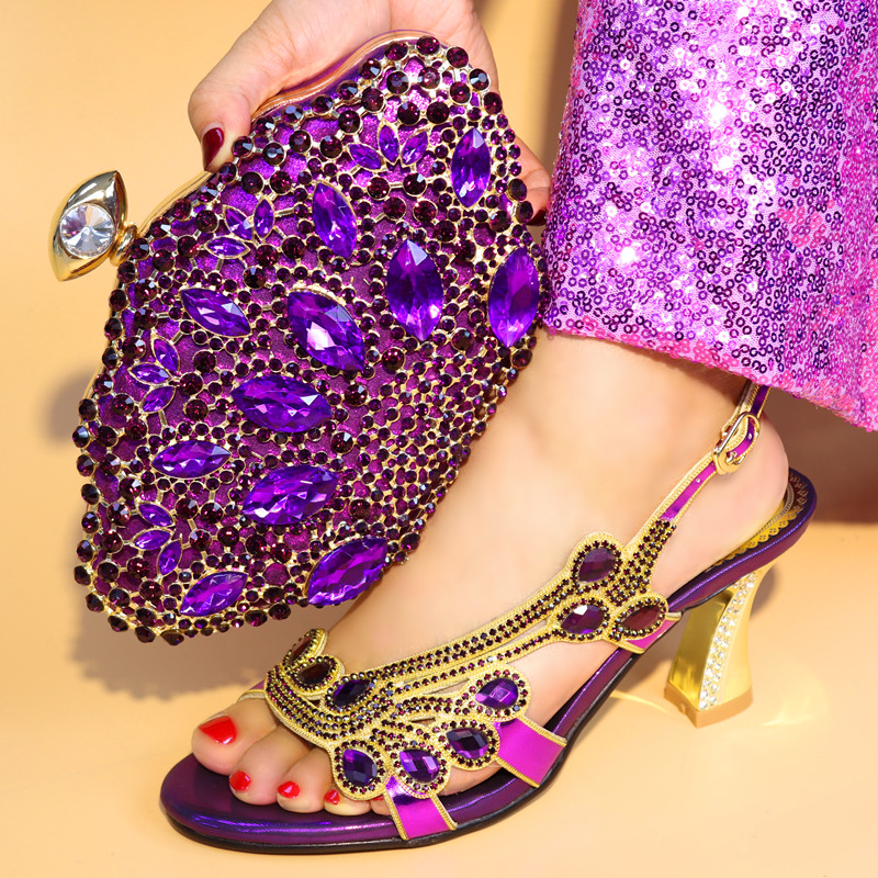 New Arrival Purple Color Nigerian Shoes and Matching Bags Set African Women Italian Shoes and Bag Sets Decorated with Rhinestone