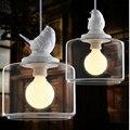 Modern bird chandelier,Resin gypsum bird and glass shade pendant lamp study/children' room/ Creative droplight LED light fixture
