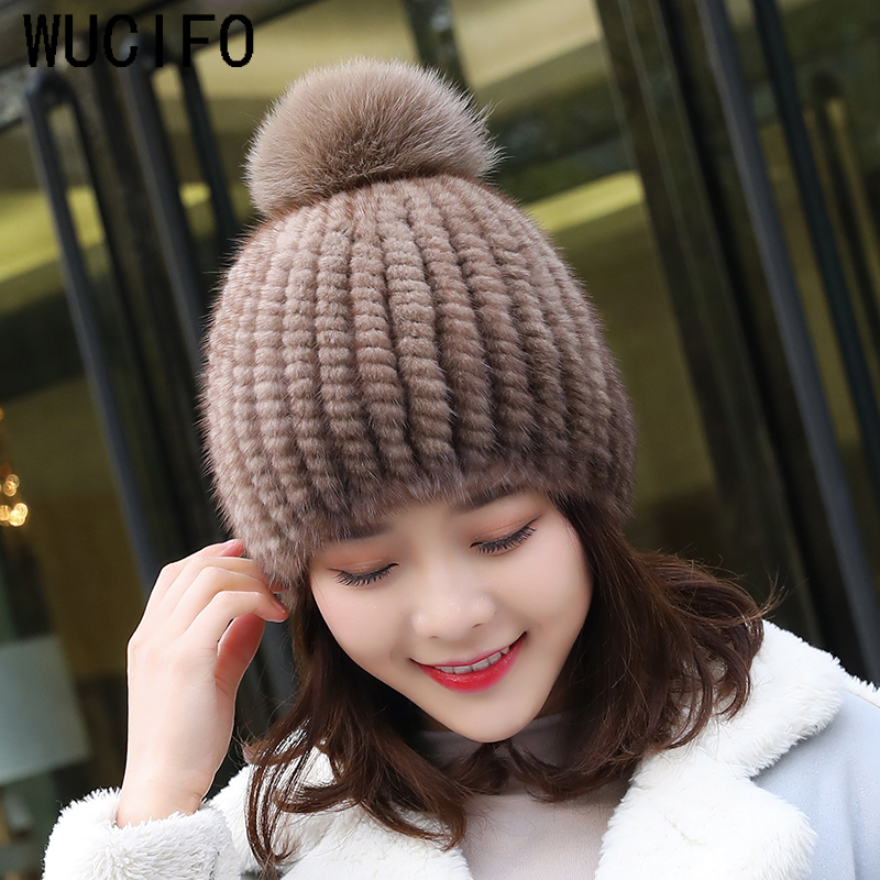 Hot Sale Real Mink Fur Hat Women Winter Knitted Mink Fur Beanies Cap With Fox Fur Pom Poms Handmade New Thick Female Cap