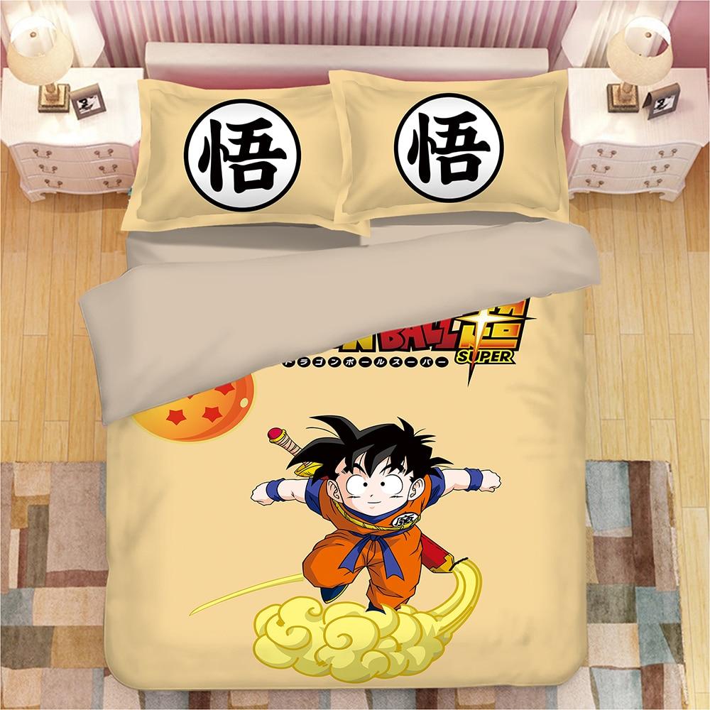 Dragon Ball 3D printing print bedding set Sun Wukong Anime Duvet Covers Pillowcases comforter bedding sets bedclothes bed linen in Bedding Sets from Home Garden