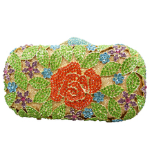 LaiSC flower clutch bag colorful Rose evening bags Handcraft day clutches wedding party purse women soiree