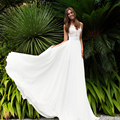 Lace Chiffon Beach Wedding Dress 2017 V Neck Appliqued Backless Trouwjurk Brautkleid Cheap Boho Wedding Gowns Gelinlik