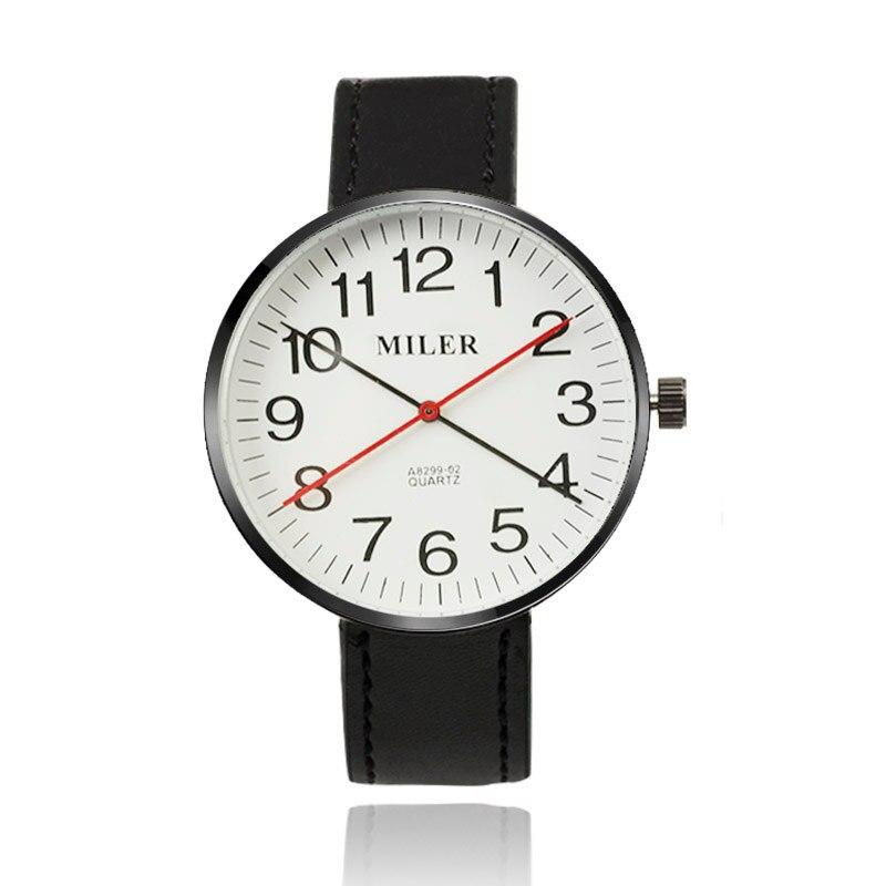 MILER Unique Fashion Długa Pointer Skórzany Pasek Zegarka Mężczyzna Zegarka  Mody Zegarki Zegarek Kwarcowy Mężczyzna Godzina Zegar relogio masculino 9873725514