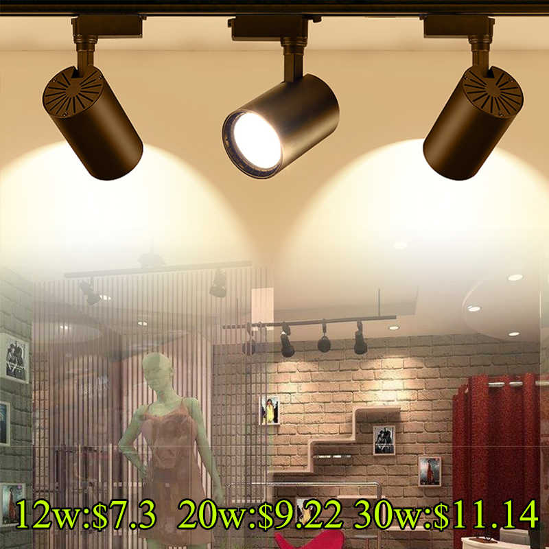 Led Track Light Cob Spotlights 12w 20w 30w Track Lighting Rail Aluminum Ceiling Lamps 220V for Clothing Shop Exhibition