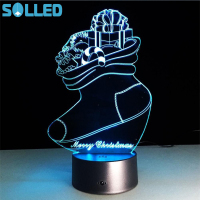 SOLLED Creative Acrylic LED Light Christmas Sock Shape Colourful 3D Visual Night Lamp Touch Switch Christmas