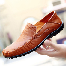LAISUMK Casual Shoes Leather High Quality Men Comfortable Wild Big Size Summer Zapatos Hombre