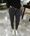 2016 novas mulheres de grande porte de verão moda Coreano mostrar fina elastic malha nove calças Haren calça jeans