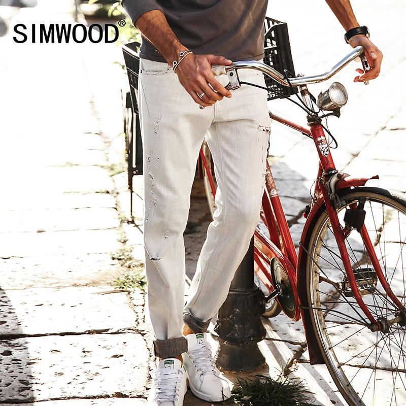 SIMWOOD 2017 Autumn New Jeans Men Slim Fit Ankle-Length Pants  Scratched Denim Trousers SJ6090 aismz new high quality jeans men casual fashion trouser slim fit ankle length scratched denim pants male brand clothing 60006