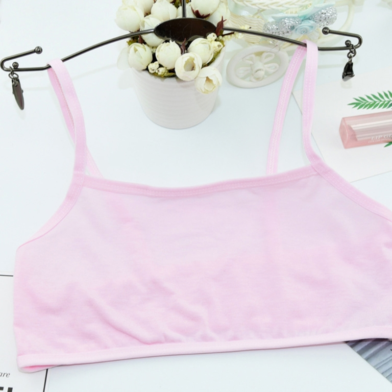 Girls Vest Puberty Teenage Girl Cotton Underwear Student Brassiere Training One Size Solid Color in Tanks Camis from Mother Kids