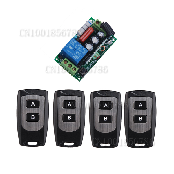 AC220V 1CH 10A Remote Control Light Switch Relay Output Radio Receiver Module and Waterproof Transmitter(4PCS) new dc12v 24v 36v 48v 10a 2ch remote control light switch relay output radio receiver module and 4pcs belt buckle transmitter