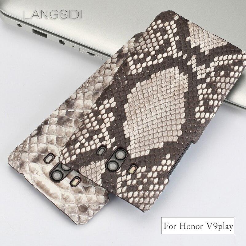 Wangcangli pour Huawei Honor V9 jouer de luxe fait à la main en peau de python véritable coque de téléphone en cuir véritable coque de téléphone