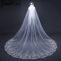 JaneVini 2018 Ivory 3 Meter Cathedral Wedding Veils Long Sequins Lace Appliques Edge Bridal Veil with Comb Wedding Accessories