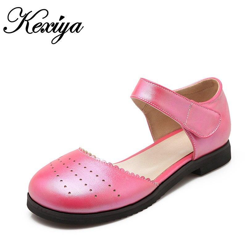 780aa46edb 2016 Nova moda Primavera/Outono mulheres sapatos plus size 28-52 Lazer  Rodada Toe Cut-Outs ouro Mary Janes senhoras sapatos baixos E-1203