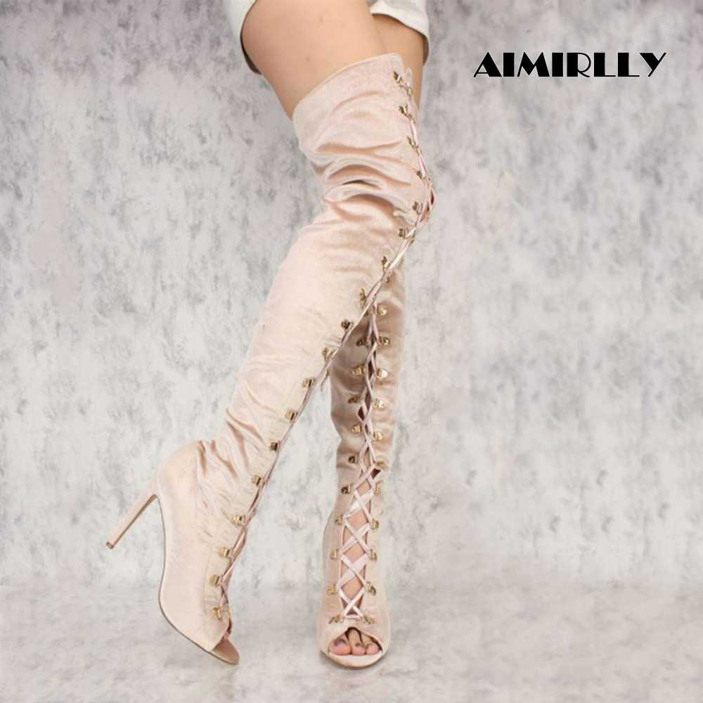 Sexy Women Thigh High Over the knee Boots Lace Up Heels Big Size Faux Velvet Size 4-15.5 Handmade Support custom sizeSexy Women Thigh High Over the knee Boots Lace Up Heels Big Size Faux Velvet Size 4-15.5 Handmade Support custom size