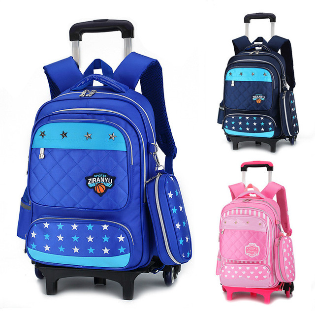 67a918286692 Latest Removable Children School Bags With 3 Wheels Stairs Kids boys girls  Trolley Schoolbag Luggage Book Bags Wheeled Backpack
