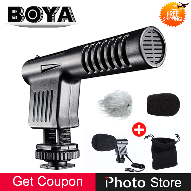 BOYA BY VM01 3.5mm Broadcast Quality Mini Size Condenser Microphone for Canon Nikon Sony DSLR Camera Camcorder Mic + Windshield