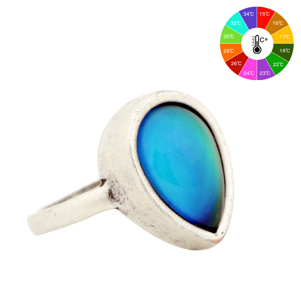 Fashion Boho Retro Vintage Stone Mood Rings Temperature Sensing Färg Change Ring Stor Ringar För Kvinnor Män MJ-RS047