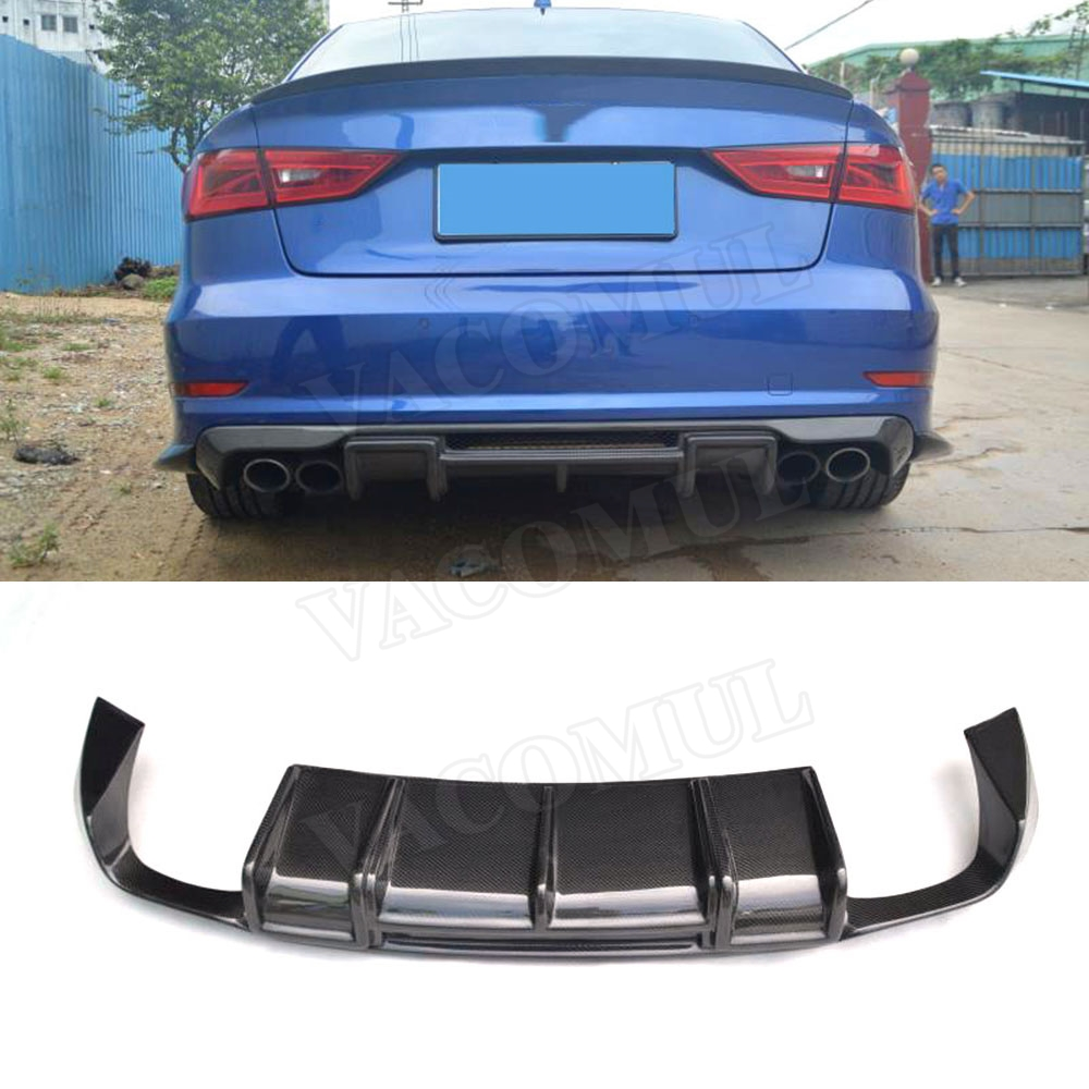 Carbon Fiber <font><b>Rear</b></font> Lip Spoiler <font><b>Diffuser</b></font> for <font><b>Audi</b></font> <font><b>A3</b></font> Sline S3 Sedan 4 door Not <font><b>A3</b></font> Standard 2014 2015 <font><b>2016</b></font> image